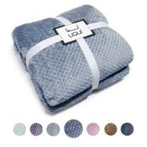 "U UQUI Fleece Blanket Twin Size Blue Lightweight Super Soft Cozy Luxury Bed Blanket Microfiber 66""x90"" Washed Blue"