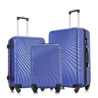 Apelila 3 Piece ABS Luggage Sets with Spinner Wheels Hard Shell Spinner Carry On Suitcase (Blue, 3 Pieces 20 24 28 Inch)