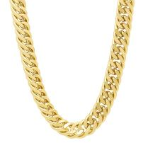 The Bling Factory 8.5mm Polished 0.25 mils (6 microns) 14k Yellow Gold Plated Beveled Curb Chain Necklace, 7'-36 + Jewelry Cloth & Pouch