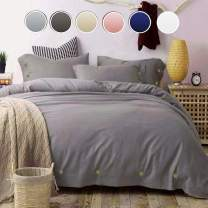 NANKO Duvet Cover Queen Gray, 90x90 Soft Lightweight Microfiber 3pc Set (1 Cover 2 Pillowcase) Zip, Eco Art Modern Bed Sets Men Women Print Quilt Cover Decor, Grey