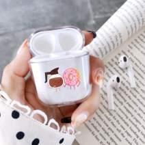 Clear Hard Plastic Case Full Protective Cover Skin Compatible with AirPods 2 & 1 Donuts Coffee