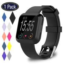 KingAcc Compatible Replacement Bands for Fitbit Versa, Soft Silicone Fitbit Versa Band, Metal Buckle Sport Wristband Strap Women Men Large Small White, Black, Peach,Gray