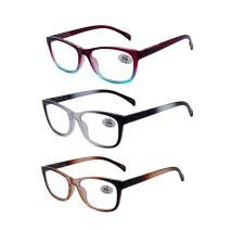 Amillet Reading Glasses 3 Pack Readers Spring Hinge Eyeglasses,Computer Reading/Gaming/TV/Phones Glasses for Women Men +3.00