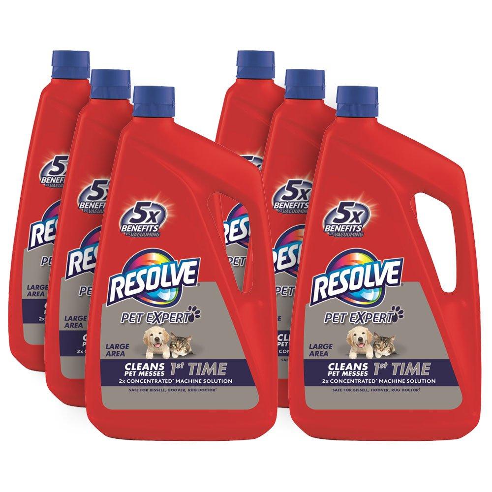 Resolve Pet Steam Carpet Cleaner Solution Shampoo, 288oz (6 Bottles x 48 oz), Safe for Bissell, Hoover & Rug Doctor