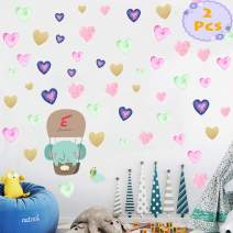 Star Heart Wall Decals 2 Pcs Kids Party Multi-Color Removable Stickers Decor for Bedroom, Door, Refrigerator, Window, Wardrobe, Glass, Table Etc. (Heart)
