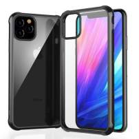 Case for iPhone 11 Pro,Lozeguyc iPhone 11 Pro Sleek Hard PC Back Rugged TPU Frame Cover Crystal Clear Hybrid Rubber Shockproof Case for iPhone 11 Pro 5.8 Inch-Black