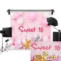 Kate 7x5ft/2.2m(W) x1.5m(H) Birthday Backdrop Sweet 16 Pink Balloon Background 16th Birthday Backdrops Birthday Party Decoration Photo Backdrops
