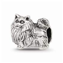 925 Sterling Silver Charm For Bracelet Pomeranian Bead Animal Fine Jewelry For Women Gifts For Her