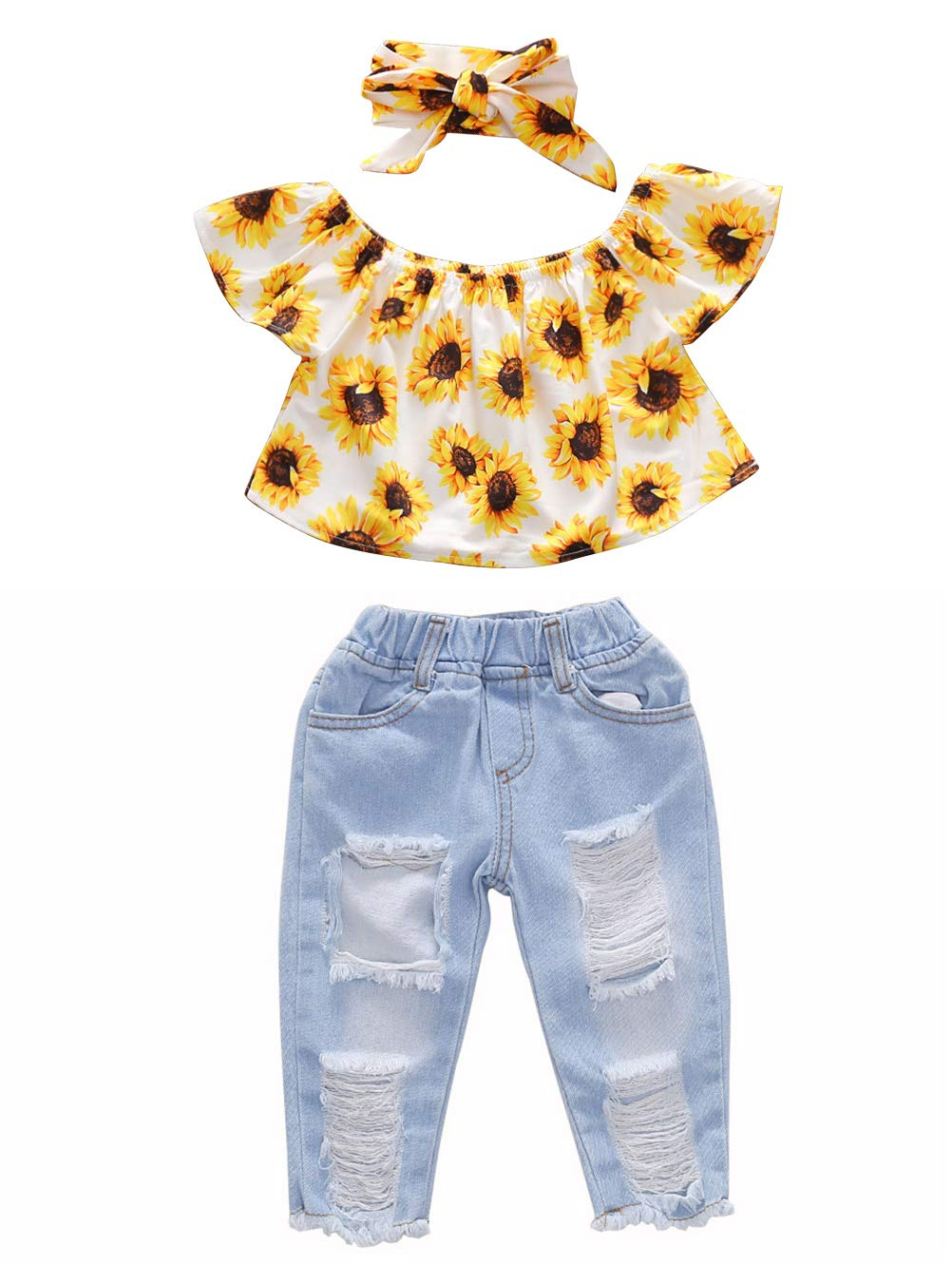 MTSLYH Baby Girl Sunflower Ruffle Off Shoulder Top+Ripped Denim Jean Pant+Headband Set