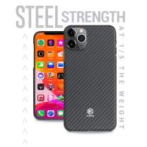 Evutec Karbon Value Compatible with iPhone 11 Pro Max 6.5 inch, Thin 0.7mm Slim Light Smooth Real Aramid Fiber Protective Case Scratch Resistant Durable Cover-Black