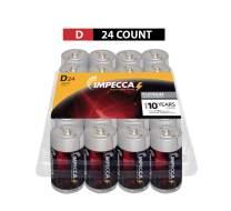 IMPECCA D Batteries (24-Pack) High Performance Alkaline, Long Lasting, and Leak Resistant Batteries, LR14, Platinum Series, 24-Count