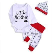 Newborn Baby Boys Outfit Brother Matching Clothes Romper/T-Shirt Top +Arrow Pants Valentine's Day Clothes Set