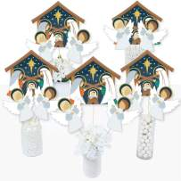 Big Dot of Happiness Holy Nativity - Manger Scene Religious Christmas Centerpiece Sticks - Table Toppers - Set of 15