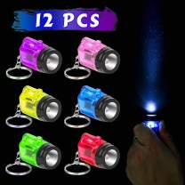 PROLOSO Mini Plastic Flashlight Keychain Kids Party Favors Toys Bulk 12 Pcs