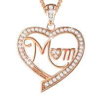 Ado Glo Birthday Gifts for Mom, Nana, Aunt Love Heart Pendant Necklace, Rose Gold Fashion Jewelry for Women, Anniversary Mother's Day Presents to Her, Auntie, Grandma