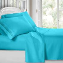 Clara Clark Premier 1800 Collection Deluxe Microfiber 3-Line Bed Sheet Set, K.