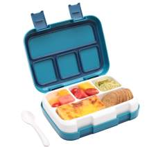 Bento Lunch Box for Kids Adults, G.a HOMEFAVOR 4 Compartment with Flatware,Meal and Snack Food Storage Containers (Blue)