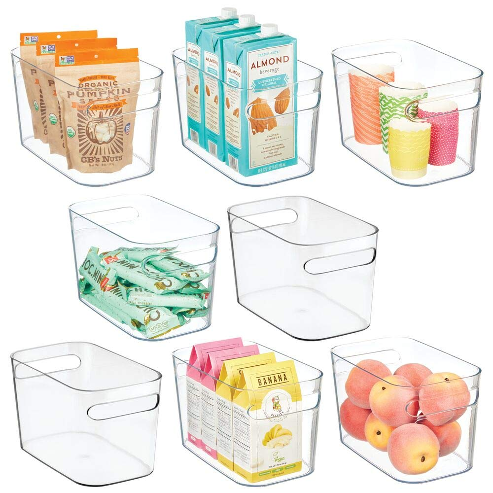 Mdesign Plastic Kitchen Pantry Cabinet Refrigerator Or Freezer Food Storage Bins With Handles Organizer For Fruit Yogurt Snacks Pasta Food Safe 10 Inches 8 Pack Clear
