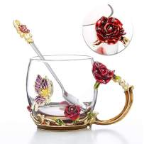Tea Cup Coffee Mug Cups, Clear Glass Coffee Cups Tea Mugs with Spoon Set Handmade Enamel Butterfly Rose Flower,12 oz (Red Rose) Ideal for Friend Wedding Anniversary Birthday Presents