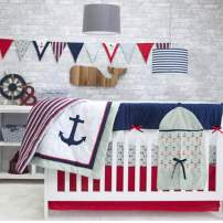 Pam Grace Creations 6 Piece Anchors Away Crib Bedding Set, Blue/Red, Baby Bedding Set