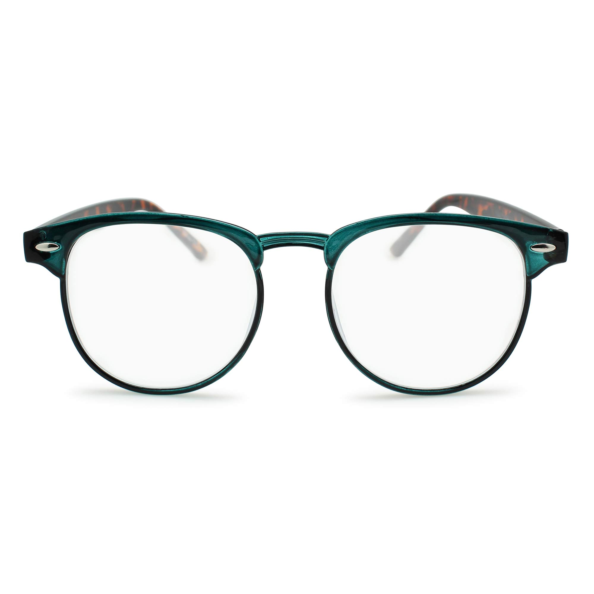 2SeeLife-Round Browline Computer Reading Glasses for Man Woman, Blue Light Blocking Readers | Tortoise Green, 2.25