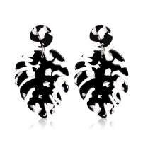 Acrylic Earrings for Women Drop Dangle Leaf Earrings Resin Minimalist Bohemian Statement Jewelry (Black White)