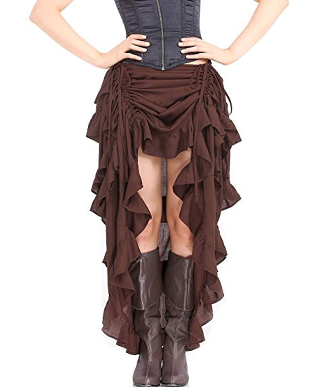 Quesera Women's Steampunk Skirt High Low Victorian Retro Gothic Rock Overskirt