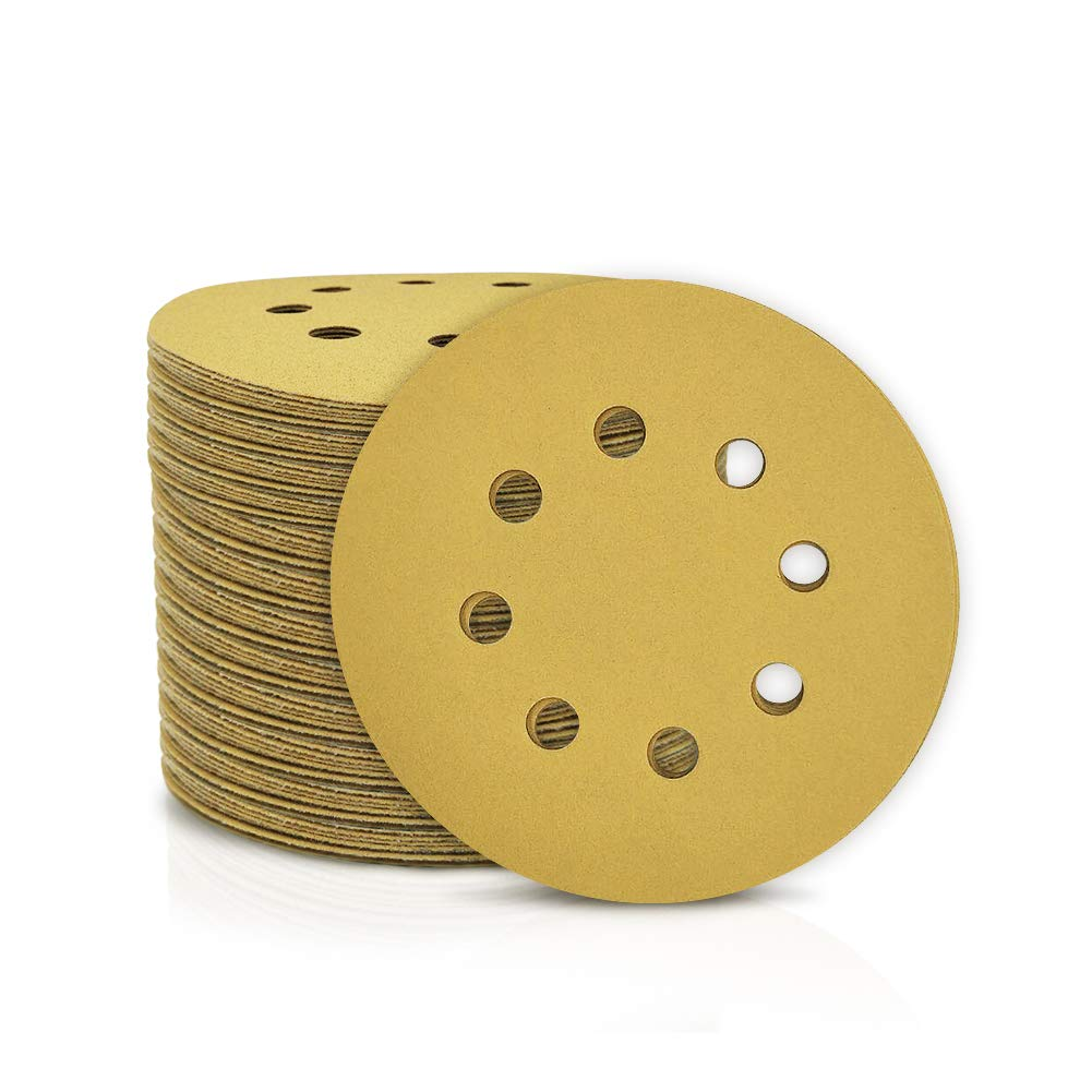 SPEEDWOX 100 Pcs 5 Inches 8 Hole Sanding Discs 220 Grit Dustless Hook and Loop Sandpaper for Random Orbital Sander Yellow Finishing Discs for Automotive Woodworking