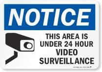 "SmartSign""Notice - This Area is Under 24 Hour Video Surveillance"" Label | 7"" x 10"" Laminated Vinyl"