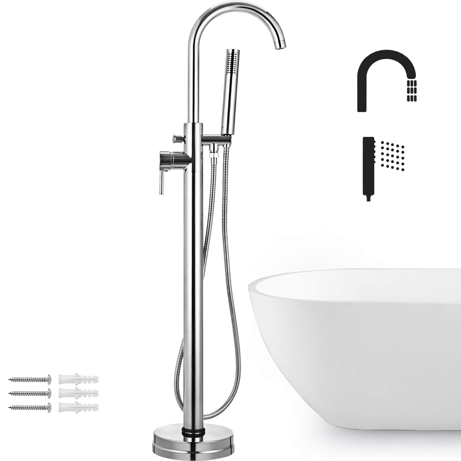Picture of: Vevor Brass Chrome Plated Free Standing Bathtub Shower Mixer Taps Floor Mounted Tub Shower Faucets With Hand Sprayer Single Handle