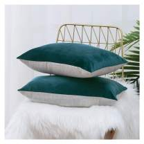 HPUK Pack of 2 Velvet Throw Pillow Cover Cozy Solid Pillowcase Decorative Cushion Cover for Couch Sofa Bedroom Office car, 12x20, Deep Teal, Reversible