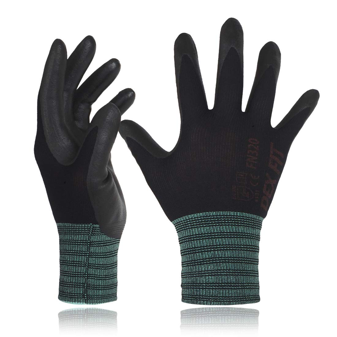 DEX FIT Black Nylon Work Gloves FN320, 3D Comfort Stretch Fit, Power Grip, Thin Lightweight, Durable Foam Nitrile Coating, Machine Washable, Large 3 Pairs Pack