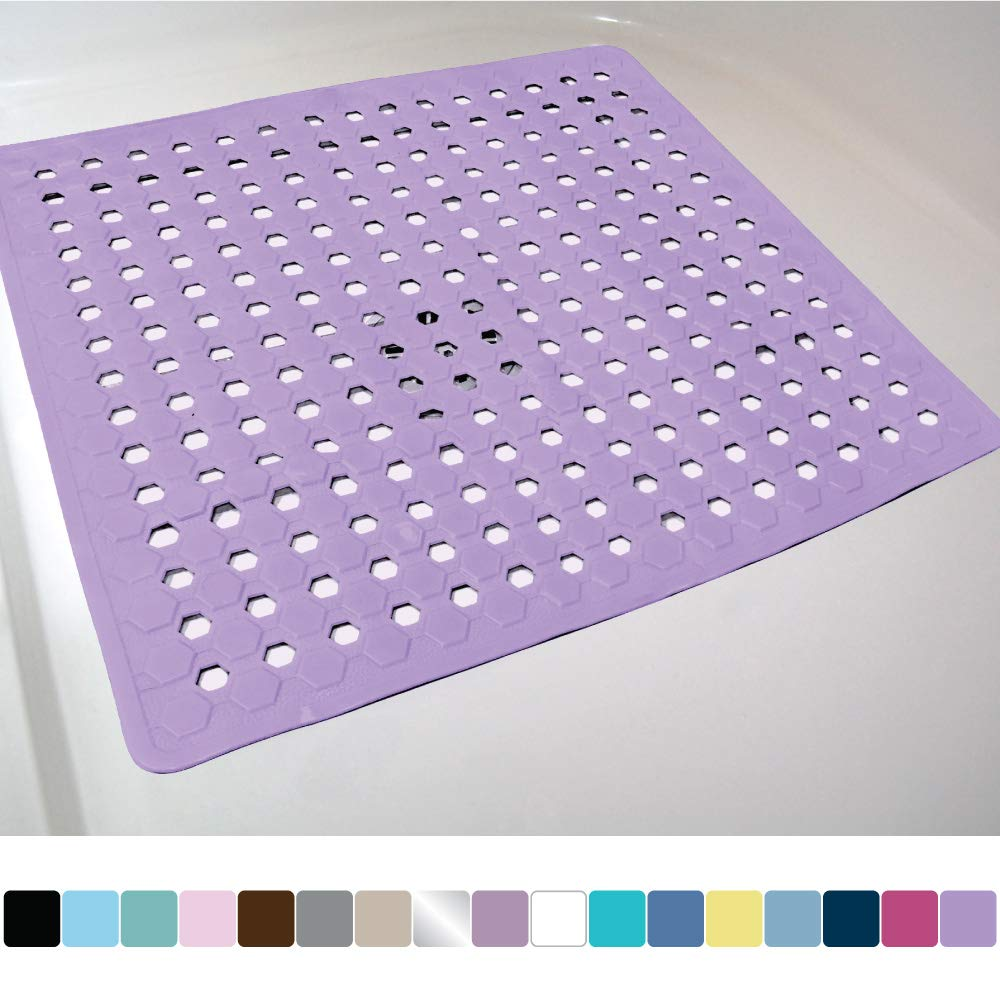 Gorilla Grip Original Patented Bath, Shower, and Tub Mat, 21x21, Machine Washable, Antibacterial, BPA, Latex, Phthalate Free, Square Bathroom Mats with Drain Holes, Suction Cups, Purple Opaque