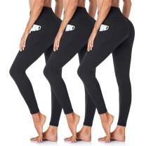 Gayhay High Waist Yoga Pants with Pockets for Women - 3 Pack Tummy Control Workout Running 4 Way Stretch Yoga Leggings