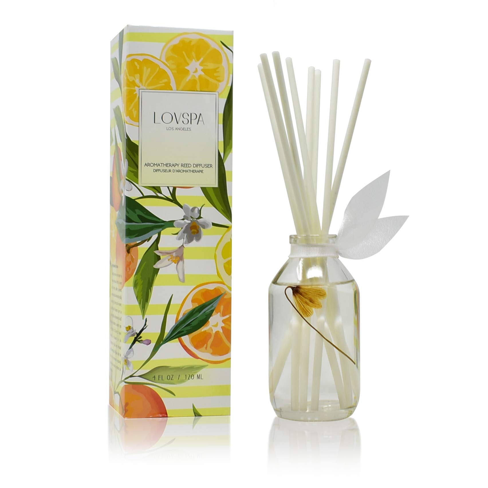 LOVSPA Coastal Citrus Scented Reed Diffuser Oil and Sticks Gift Set - Air Freshener for Bathroom, Bedroom Kitchen or Living Room - Best Housewarming Gift Idea for Women and Men - Made in The USA