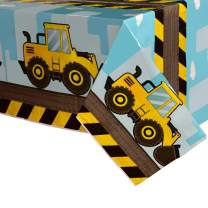 WERNNSAI Dump Truck Table Covers - 4 Pack 108''x 54'' Disposable Printed Plastic Tablecloth Party Supplies for Kids Boys Birthday Construction Party Decorations