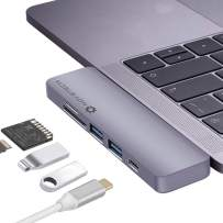 """NOV8Tech USB C Hub Type C Adapter Dongle Docking Station Dock for 2019 2018 2017 2016 MacBook Pro, 19-18 Mac Air 16"""" 15"""" 13"""" Thunderbolt 3 100W Power Delivery Charger, 2xUSB 3, Micro SD/SD (Renewed)"""
