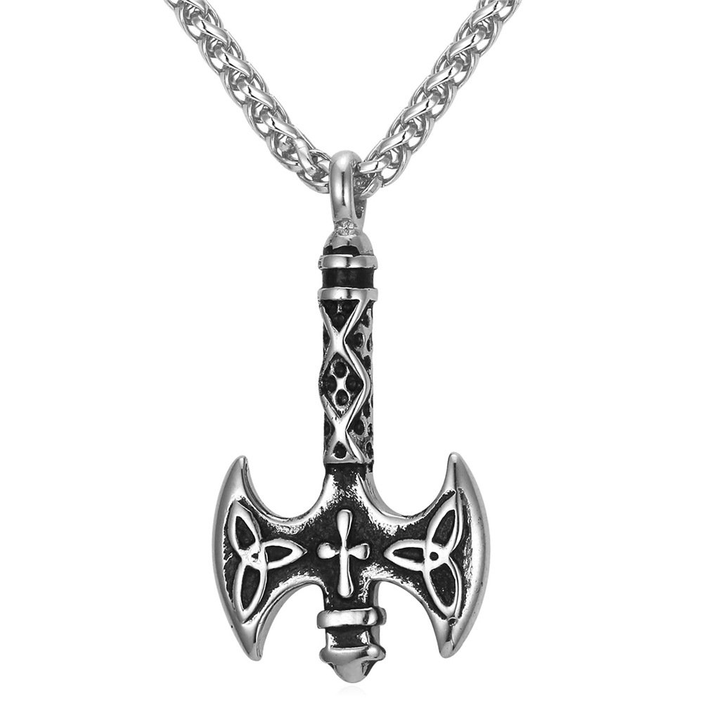Vintage Celtic Cross Necklace for Men Women Antique Knot Cross Pendant & Rope Chain, Free Personalized Engraving