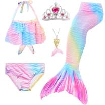 5Pcs Girls Swimsuit Mermaid Tails for Swimming Princess Bikini Bathing Suit Set Can Add Monofin for 4T 6T 8T 10T 12T