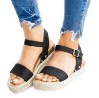 Ecolley Open Toe Sandals for Women in Black with Strap Plus Size Fashion Stylish Leather Size 42