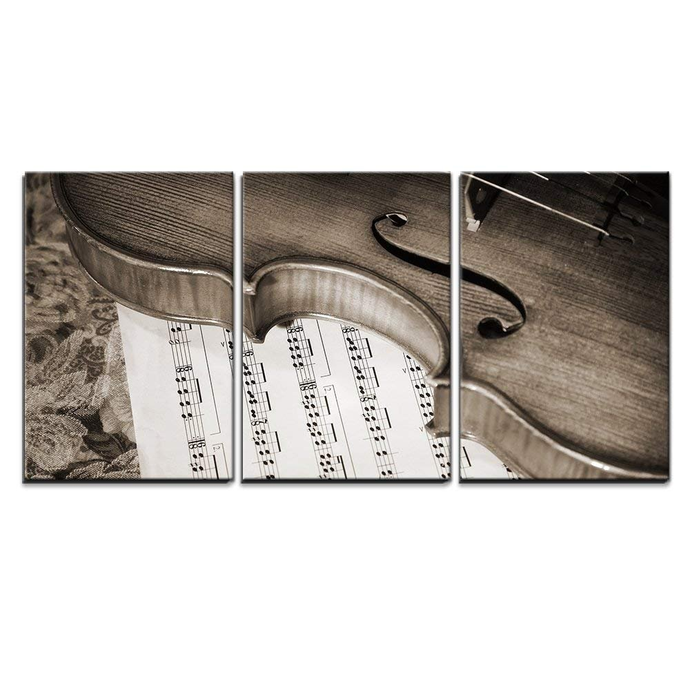 """wall26 - 3 Piece Canvas Wall Art - Close-Up Picture of The Old Italian Violin Witn Score - Modern Home Decor Stretched and Framed Ready to Hang - 16""""x24""""x3 Panels"""