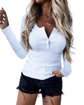 PAQUKISS Womens Sexy Long Sleeve Henley Shirts Scoop Neck Button UP Casual Tunic Tops