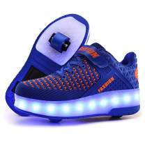 Aikuass LED Light Up Roller Shoes USB Rechargeable Wheely Shoes Skate Sneaker Shoes for Boys Kids ( 5.5 Big Kid/ EU38 ; Blue )