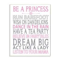 Stupell Industries Be a Princess Pink Typog Wall Plaque, 10x15, Design By Artist Susan Newberry Designs