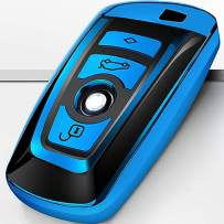 Intermerge for BMW Key Fob Cover, Soft TPU BMW Key Case Shell Pouch for BMW 1 3 4 5 6 7 Series and BMW X3 X4 M5 M6 GT3 GT5 Keyless Entry Key Cover_Blue