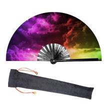 Lysa Large Rave Folding Fan for Men/Women-Chinese/Japanese Bamboo and Nylon-Cloth Folding Hand Fan for Electronic Dance Music Festival Party,Dancing,Decorations, Gift (Galaxy Nebula-03-01)