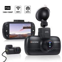"""Wi-Fi Car Dash Cam with GPS FHD 1080P & 1080P Dual Dash Cam Front and Rear Dash Camera for Cars,DVR Dashboard Camera Recorder with Starvis Night Vision,3.0"""" IPS Screen, 170°Wide Angle, G Sensor,WDR"""