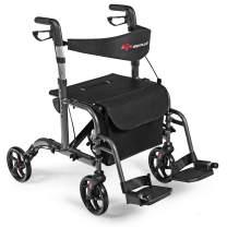 GOPLUS 2 in 1 Folding Rollator Walker, 4 Wheel Medical Rolling Walker with Adjustable Handle and Carry Bag for Adult, Senior, Elderly & Handicap, Aluminum Transport Chair Mobility Rollator (Black)