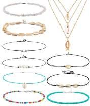WAINIS 2-13 Pcs Vsco Girls Shell Choker Necklaces for Women Girls Puka Chips Summer Beach Seashell Necklace Choker Set