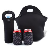 """Nordic By Nature Big Insulated Extra Large Neoprene Lunch Box Tote Bag Set: Tote + Bottle Sleeve +2 Can Insulators 